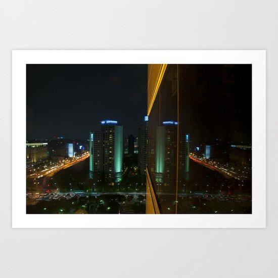 Seoul Reflection Art Print