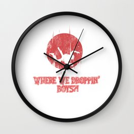 Where We Droppin' Boys Skydiving Extreme Sports Parachuting Skydivers Gift Wall Clock
