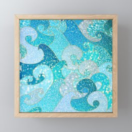 Mermaid Waves And Sea Faux Glitter - Sun Light Over The Ocean Framed Mini Art Print