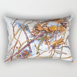 ground beneath my feet in winter: dry leaves, grass, branches, snow Rectangular Pillow