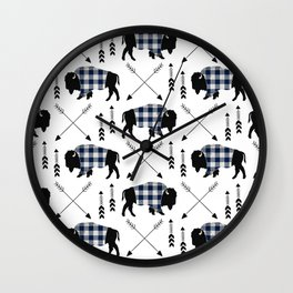 Blue Buffalo Plaid Wall Clock
