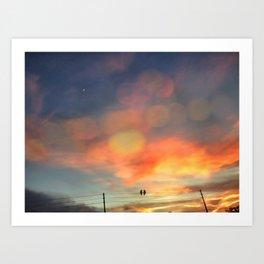 Love birds in the sunset Art Print