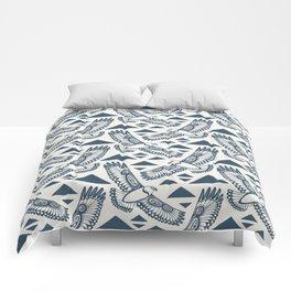 The Hawk's Flight_ Beige and Blue Comforters