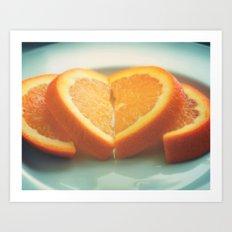 oranges. heart photo. love on a sunday morning Art Print