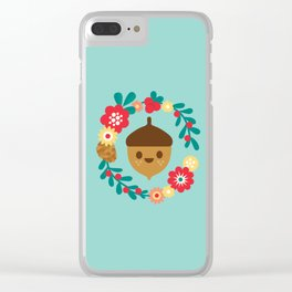 Acorn and Flowers Clear iPhone Case