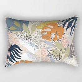 Tropical Foliage Pattern 1 - Retro Boho Rectangular Pillow