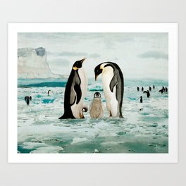 Emperor Penguin Family Art Print