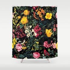 Floral and Birds Pattern Shower Curtain