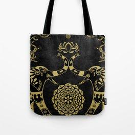 Lotus Flower Elephants Mandala Gold & Black Tote Bag