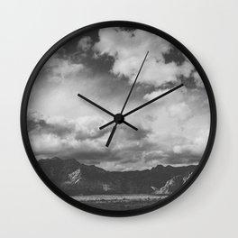 Red Rock Canyon, Las Vegas, Nevada. Mountain Black and White Photograph Wall Clock