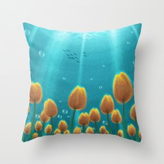 Tulips under the Sea Throw Pillow