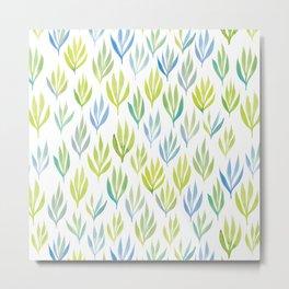 Watercolour Ferns | Green and Blue Metal Print