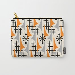 Mid Century Modern Atomic Wing Composition Orange & Gray Carry-All Pouch