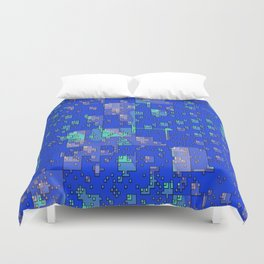 Abstract Blue Cityscape Duvet Cover