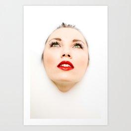 Face In Milk Art Print