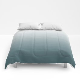 White to dark duck egg greyish blue gradient ombre painted appearance Comforters