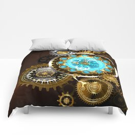 Unusual Clock with Gears ( Steampunk ) Comforters