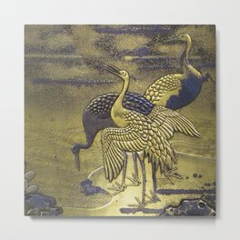 Golden Birds Metal Print