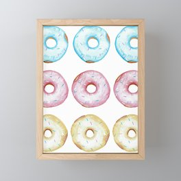 Fun watercolor glazed donuts pattern Framed Mini Art Print