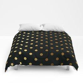 Gold polka dots on black pattern Comforters