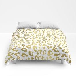 Glam Gold Cheetah Animal Print Comforters
