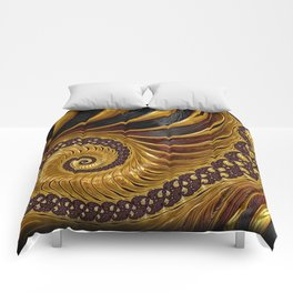 Gold Metallic Swirling Conch Shell Fractal Design Comforters