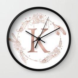 Letter K Rose Gold Pink Initial Monogram Wall Clock