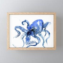 Navy Blue Octopus Artwork Framed Mini Art Print