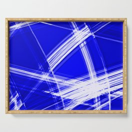 Darkened mirrored edges with nautical diagonal lines of intersecting luminous bright energy waves. Serving Tray