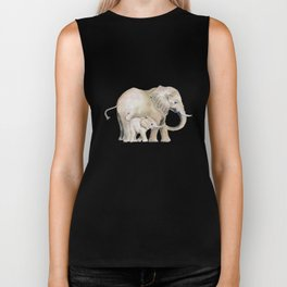 Mom and Baby Elephant 2 Biker Tank