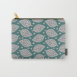 Mid Century Modern Falling Leaves Green Pink Carry-All Pouch