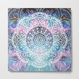 Mandala Dream | Watercolor Galaxy Painting Metal Print