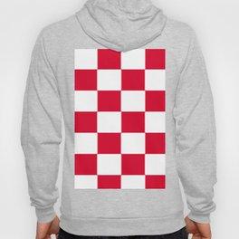 Red and white zig zag checkered artwork Hoody