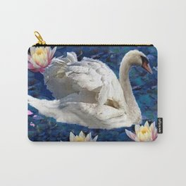 Swans & Peach Water Lilies Art Carry-All Pouch