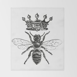 Queen Bee | Black and White Throw Blanket