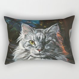 Two Faces of the Main Coon Cat Rectangular Pillow