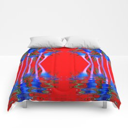 BLUE CALLA LILIES RED WATER REFLECTIONS Comforters