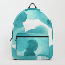 Aqua Bubbles: Abstract turquoise watercolor painting Backpack