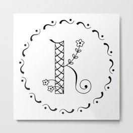 K - decorative monogram. Metal Print