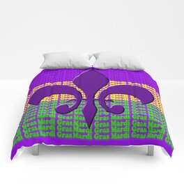 Mardi Gras  tri color with Fleur de lis Comforters
