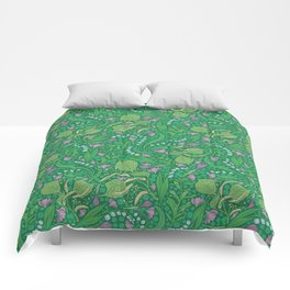 Lilies of the valley and crocuses on green background Comforters