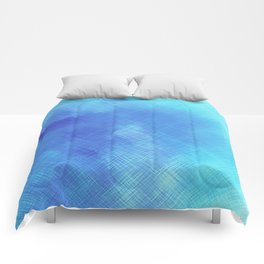 Turquoise Seas Abstract Watercolor - Crosshatched Comforters