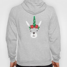 Llama Christmas Tree And Lights Poinsettia Hoody