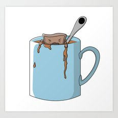 Teabag and mug Art Print