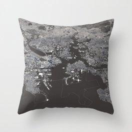 Bosston - City Map I Throw Pillow