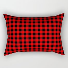 Australian Flag Red and Black Outback Check Buffalo Plaid Rectangular Pillow