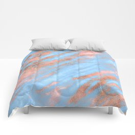 Sky Blue Marble With Rich Rose-Gold Veins Comforters