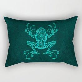 Intricate Teal Blue Tree Frog Rectangular Pillow