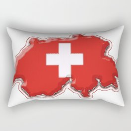 Switzerland Map with Swiss Flag Rectangular Pillow