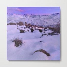 Mulhacen, Alcazaba, Vacares, Goteron, Machos And Veleta Mountains At Sunset. Snow Mountains Metal Print